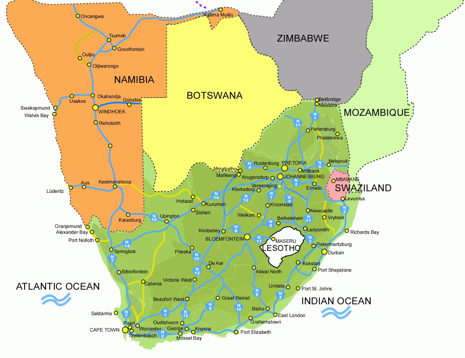 Lesotho south africa map   Map of Lesotho and south africa