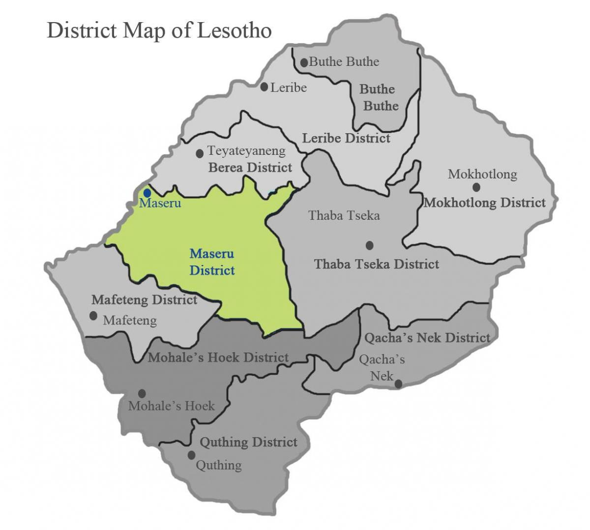 map of Lesotho showing districts
