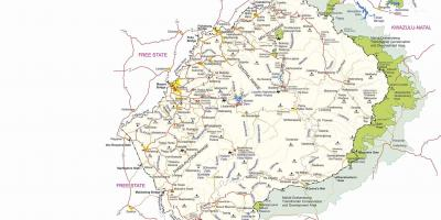 Map of Lesotho border posts